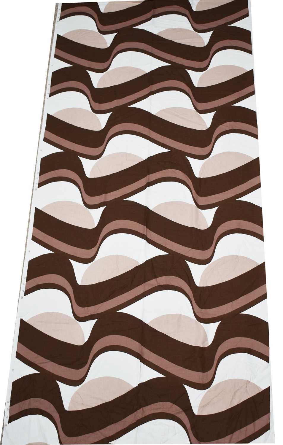 Vintage Fabric: a roll of brown & white swirl printed fabric