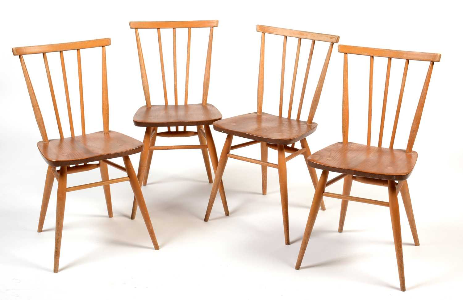 Ercol: four all-purpose Windsor chairs, No 391