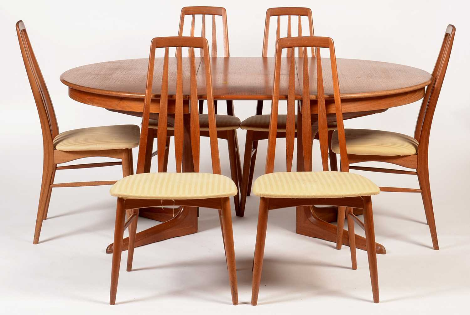 Niels Koefoed for Koefoed Hornslet: Extending dining table; and set of six Eva chairs