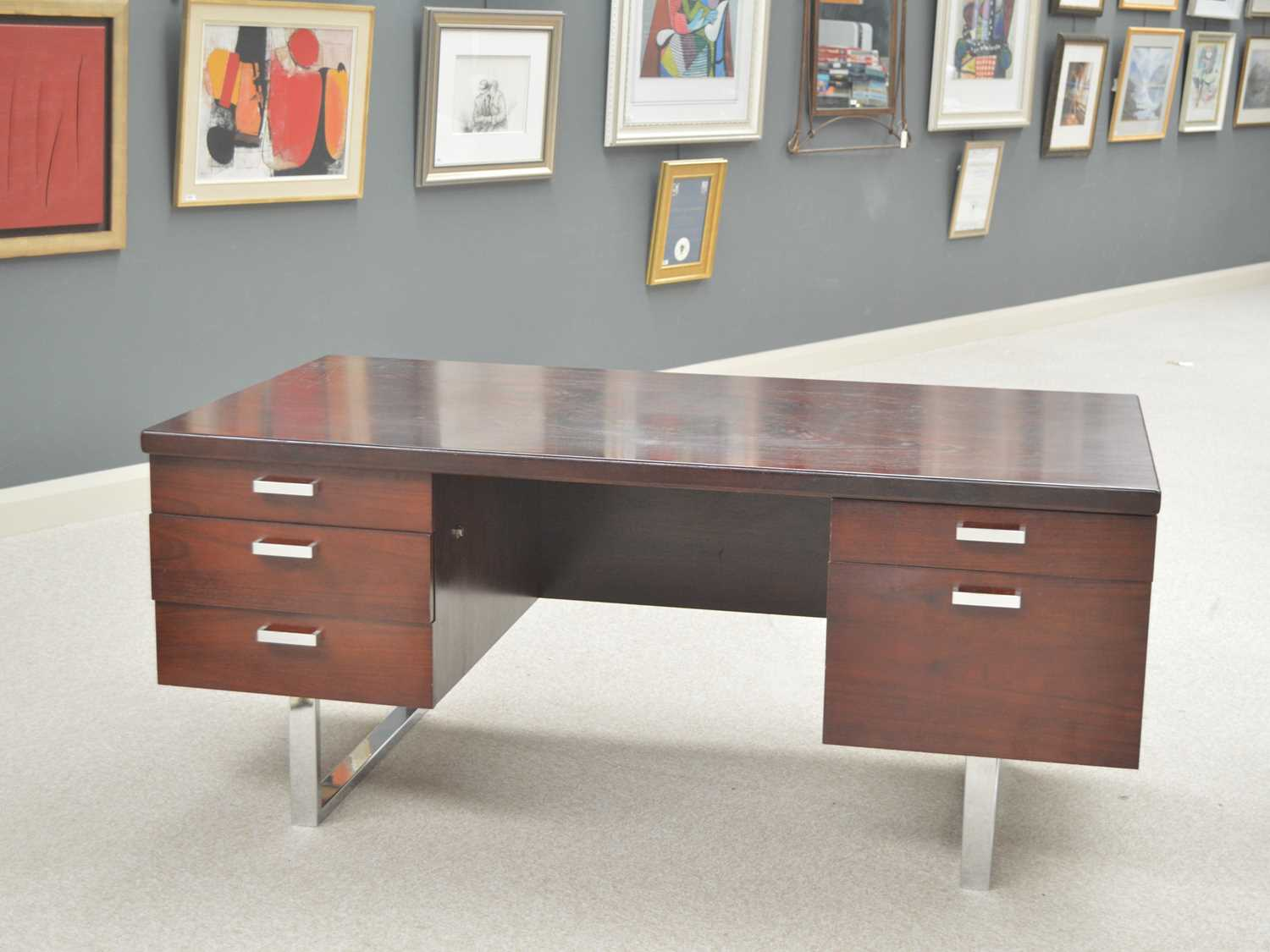 Trevor Chinn for Gordon Russell: a rosewood and chromed metal pedestal desk and filing cupboard. - Image 2 of 2