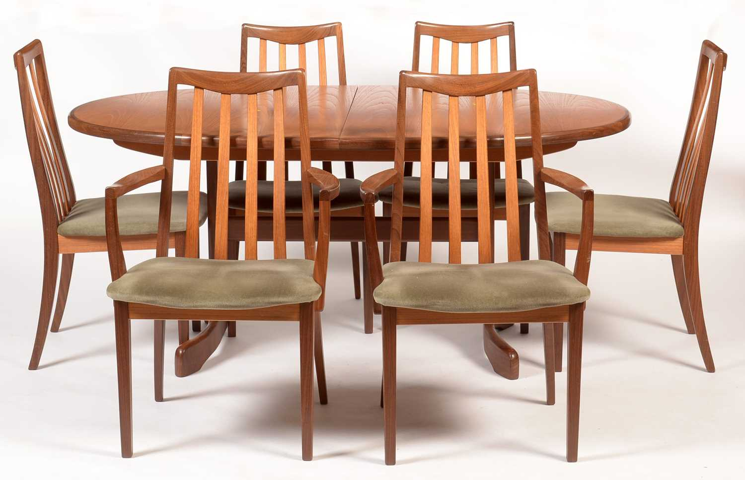 G-Plan: a teak 'Fresco' oval extending dining table; and six dining chairs.