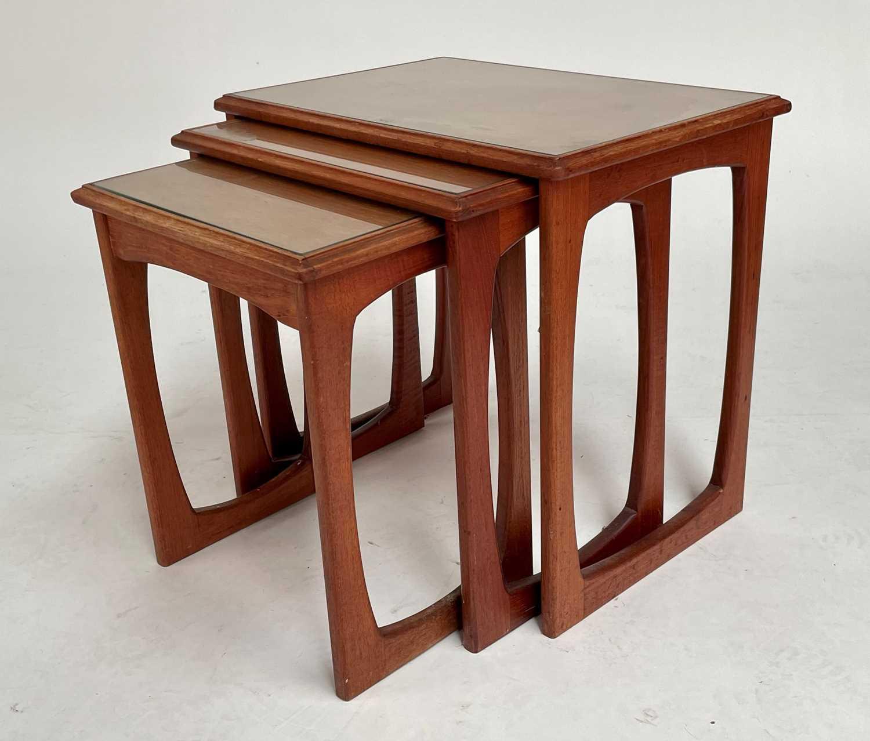 Mid-Century nest of three teak tables