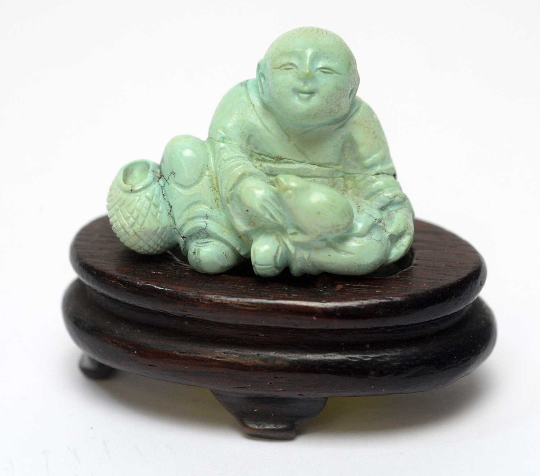 Chinese turquoise figure; jadeite pendant, hardstone cup - Image 3 of 27