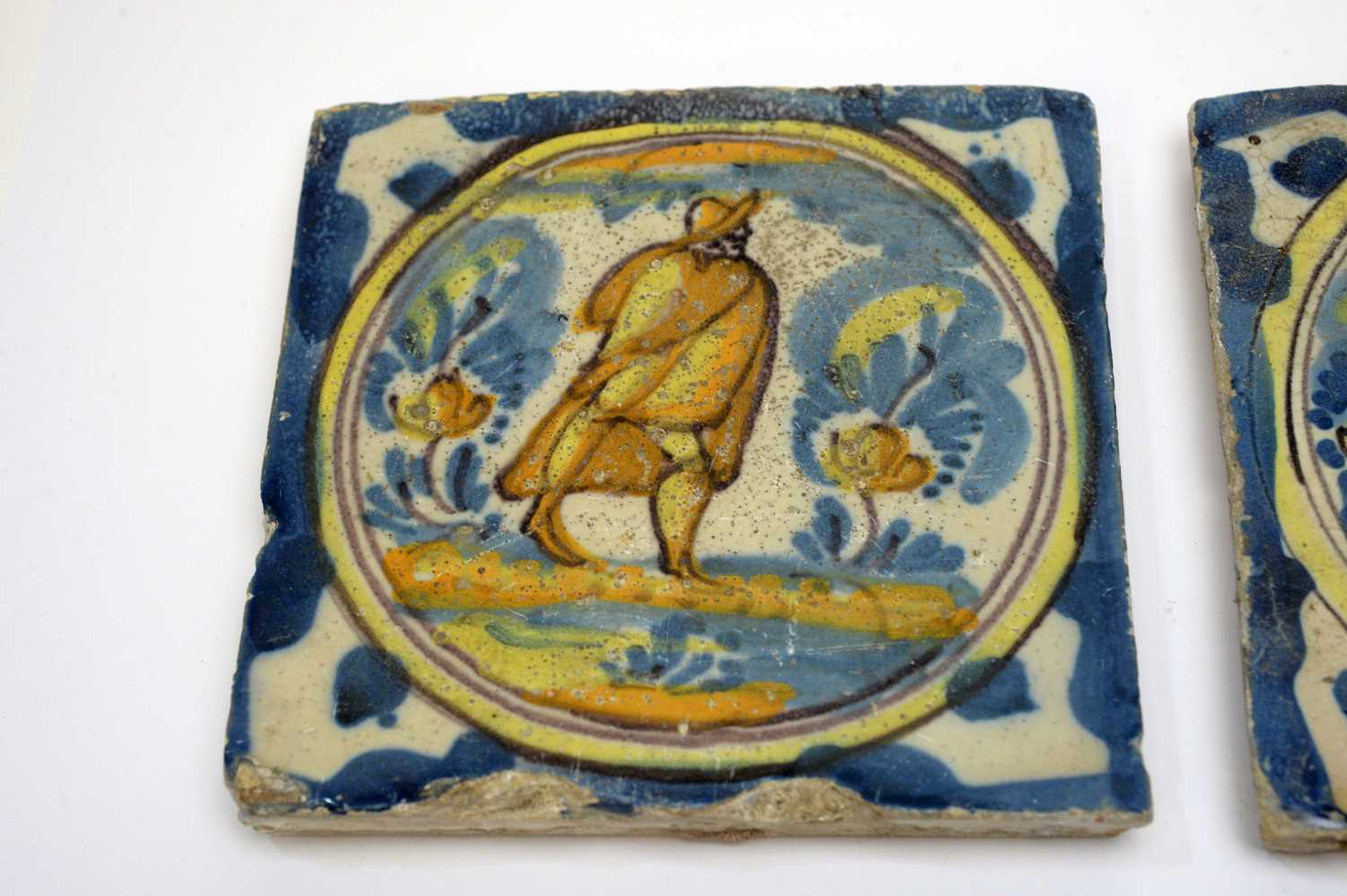 Three early Spanish tiles - Image 3 of 4