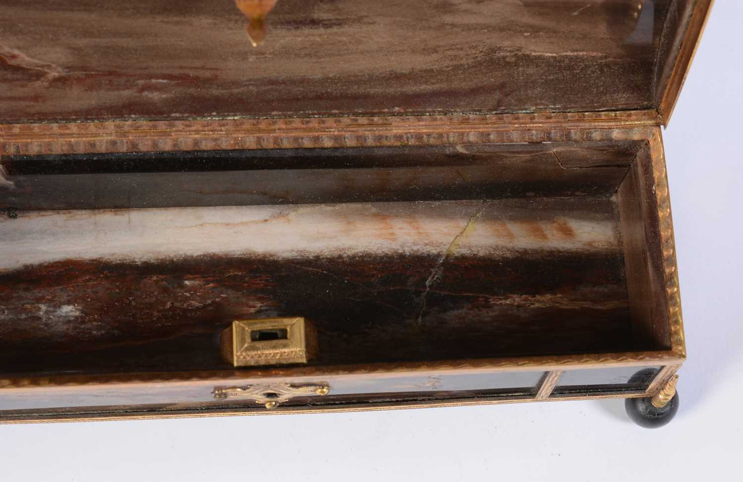 A 19th C marble and giltmetal dome-topped casket - Image 2 of 6