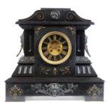 19th Century black slate mantle clock
