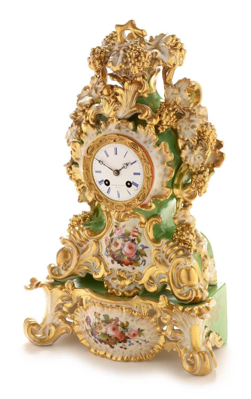 Jacob Petit porcelain mantel clock and stand