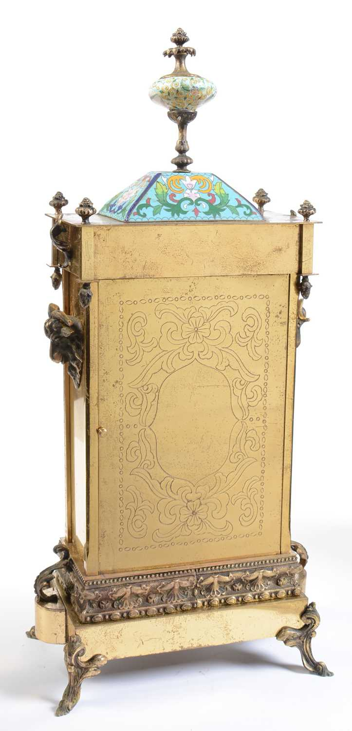 A late 19th / early 20th Century Chinese cloisonne enamelled and lacquered brass mantle clock - Image 2 of 3