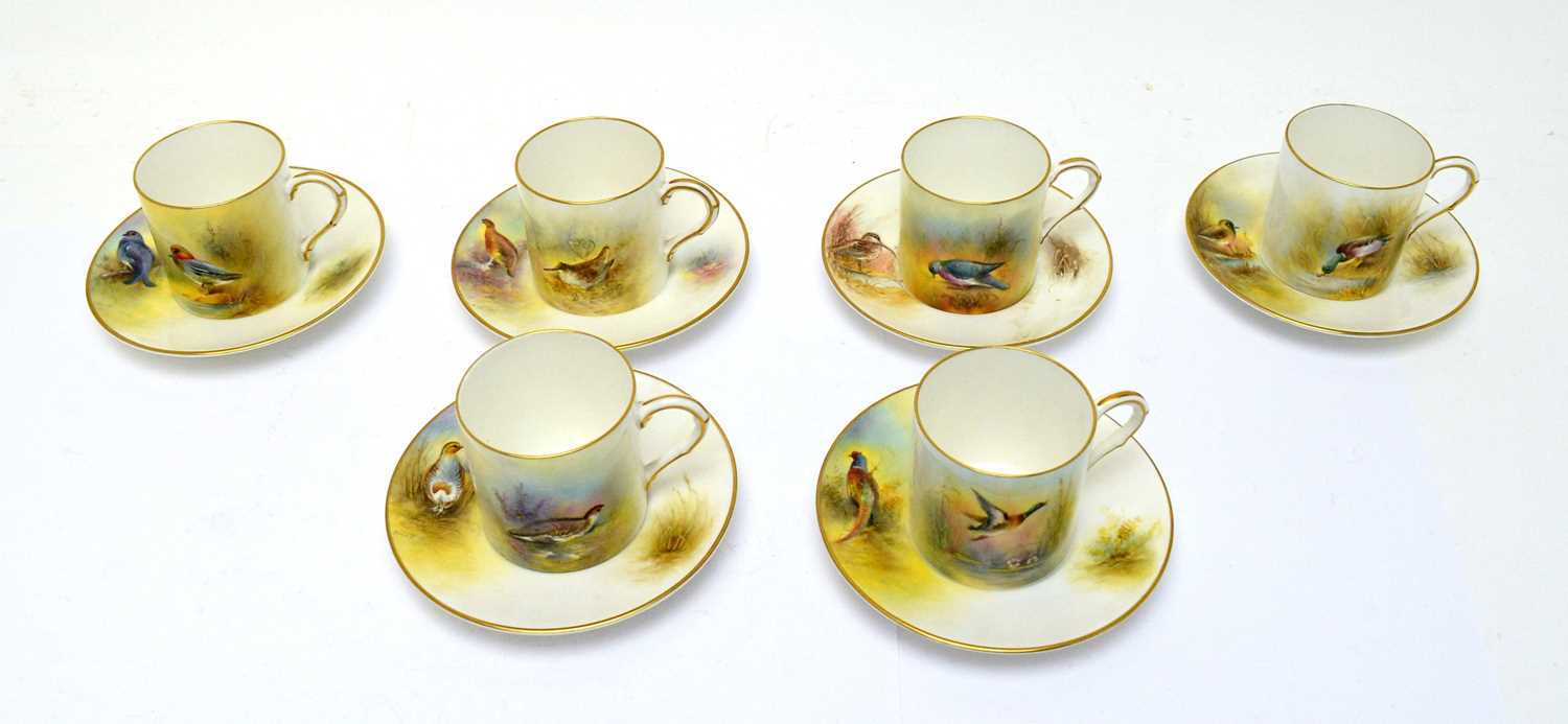Six Royal Worcester coffee cans and saucers with game birds by Peter Platt