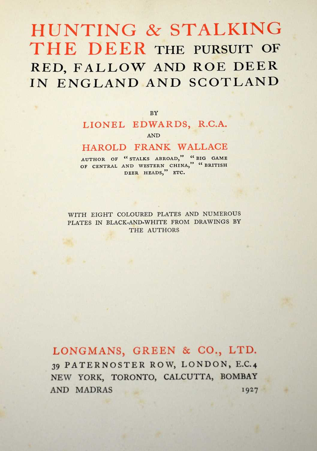 Edwards (Lionel) and Wallace (Harold Frank) Hunting & Stalking of Deer, and 2 other books - Image 3 of 5
