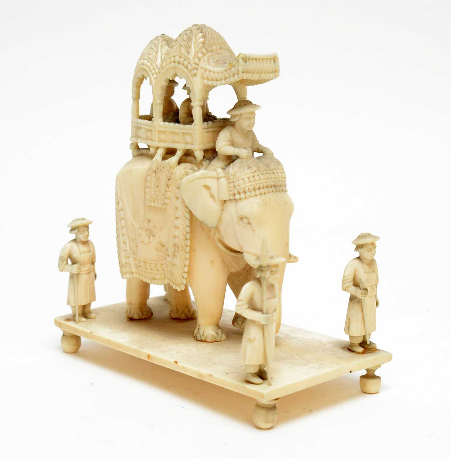 Three 19th Century Nepalese ivory processional groups - Image 6 of 7