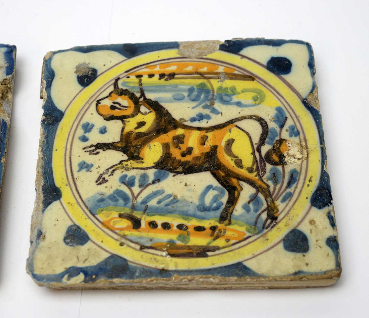 Three early Spanish tiles - Image 2 of 4