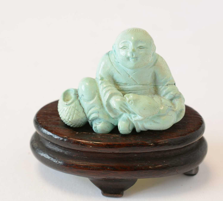 Chinese turquoise figure; jadeite pendant, hardstone cup - Image 10 of 27
