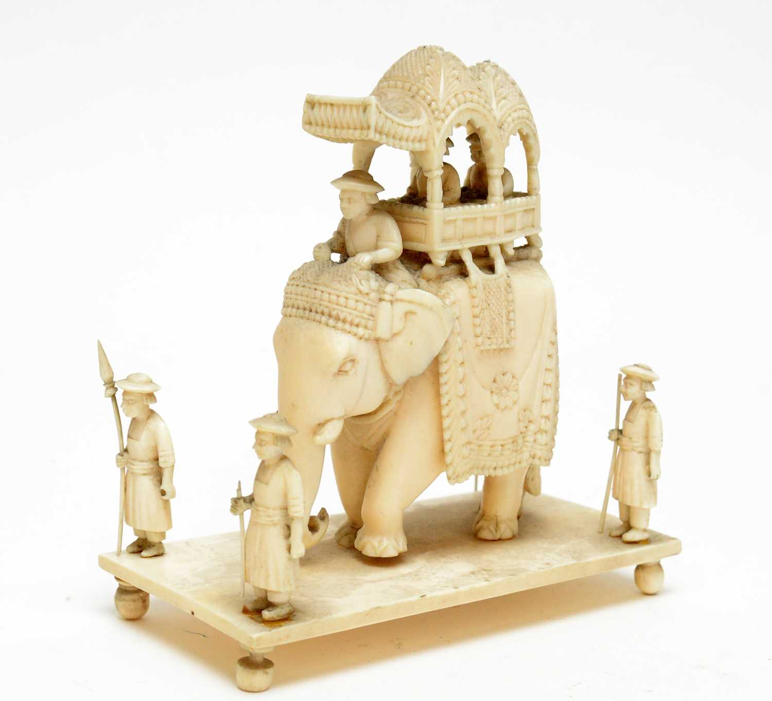 Three 19th Century Nepalese ivory processional groups - Image 2 of 7