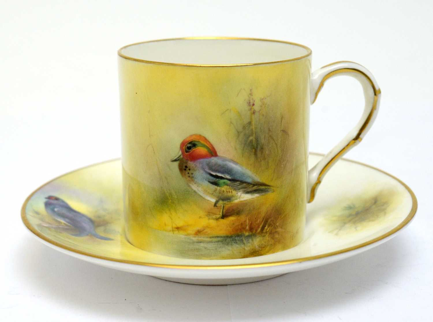 Six Royal Worcester coffee cans and saucers with game birds by Peter Platt - Image 4 of 4