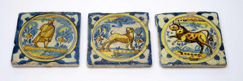 Three early Spanish tiles
