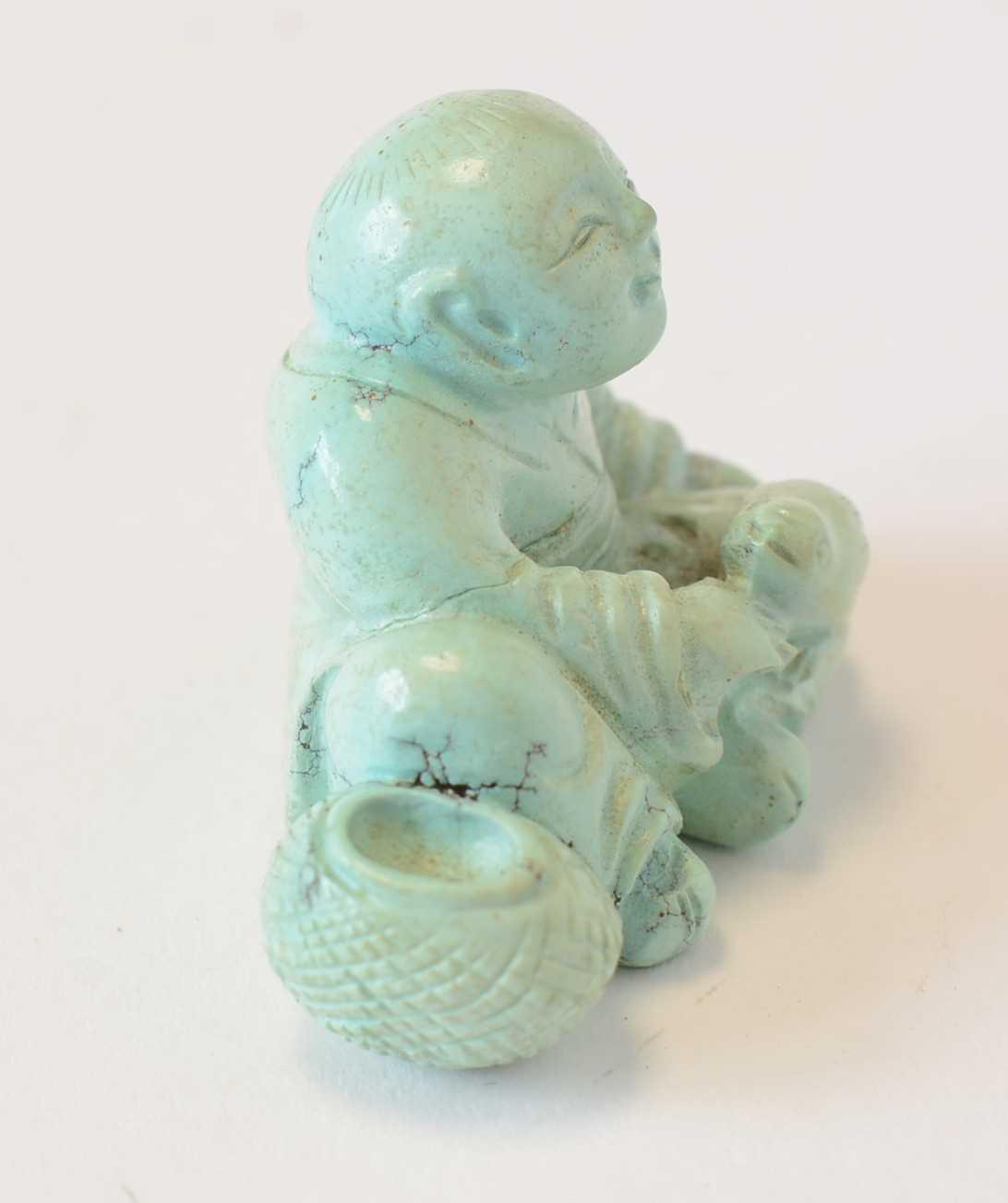 Chinese turquoise figure; jadeite pendant, hardstone cup - Image 13 of 27
