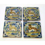 Four early Spanish tiles