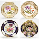 Two Spode dessert plates, two others