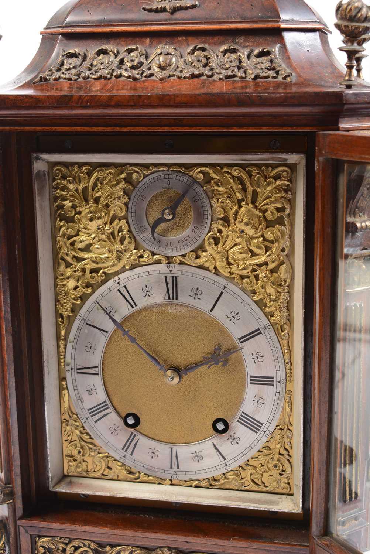 A 19th Century burr rosewood bracket clock. - Image 2 of 3