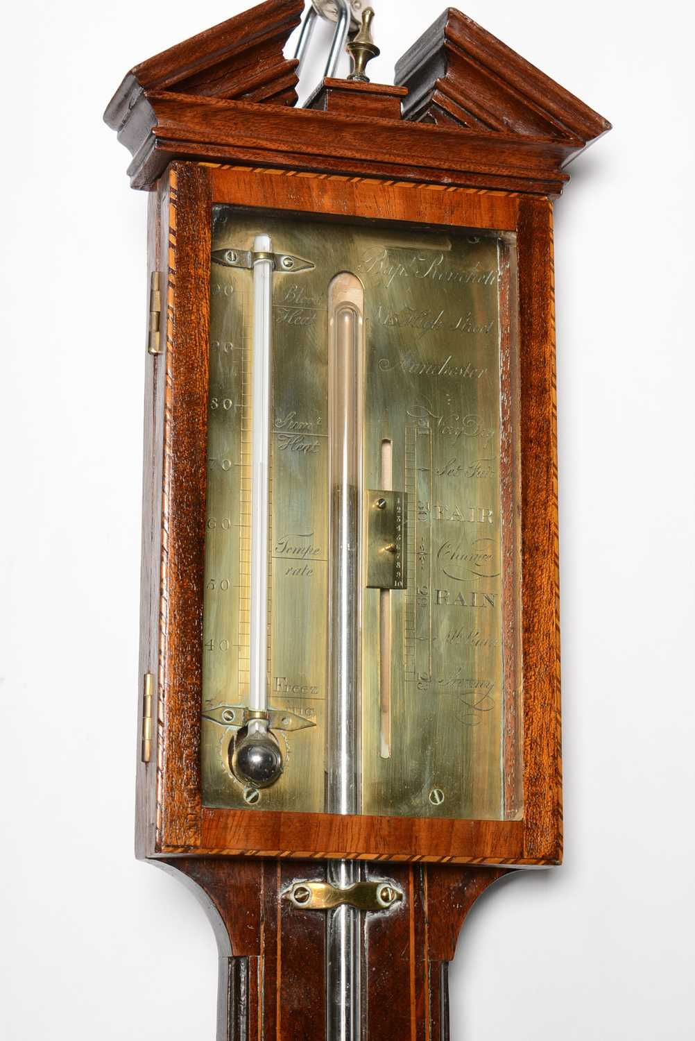 Late George III mahogany stick barometer by Baptista Ronchetti & Co, Manchester - Image 3 of 3