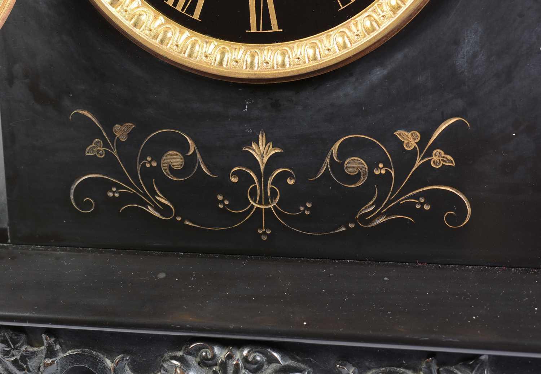 19th Century black slate mantle clock - Image 6 of 8