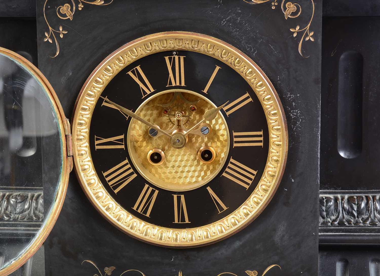 19th Century black slate mantle clock - Image 3 of 8
