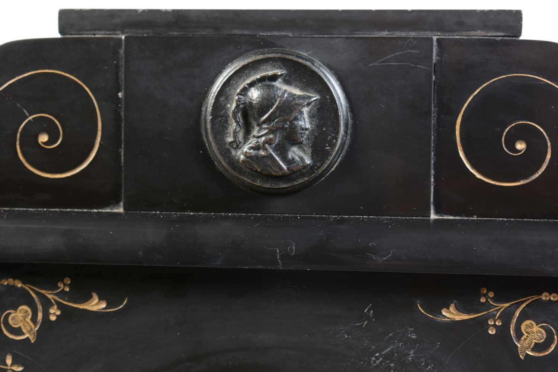 19th Century black slate mantle clock - Image 4 of 8