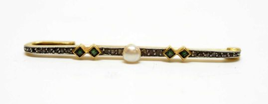 A Belle Epoque pearl, emerald and diamond bar brooch.