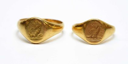 Two antique 18ct gold signet rings.
