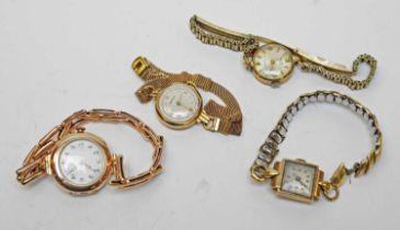 Four ladies' 9ct gold cased wristwatches