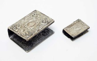 Antique silver matchbox and vesta box covers.