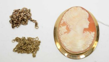 A 9ct gold cameo pendant brooch and chains.