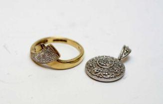 Diamond set pendant and dress ring.