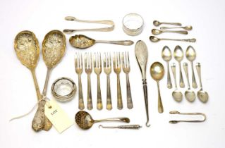 Silver and electroplate flatware.