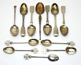 Various silver spoons including a parcel-gilt anointing spoon.