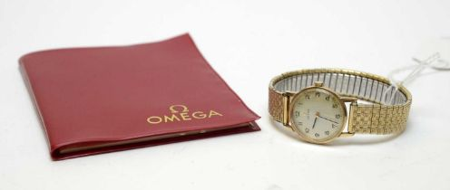 A lady's 9ct gold cased Omega watch