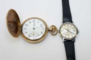 A gentleman's Omega wristwatch and Waltham hunter pocket watch.