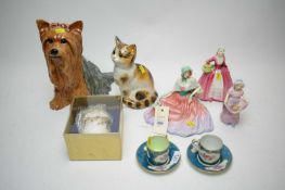 Three Doulton figures of ladies and other decorative ceramics