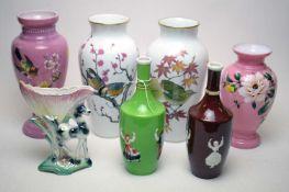 A selection of vases including two Franklin Porcelain vases