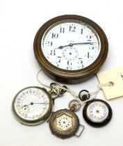 Antique fob/pocket watches and a car clock.