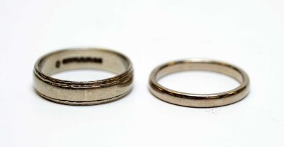 Two 18ct white gold wedding bands.