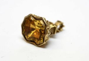 A 19th Century yellow metal and citrine fob seal.