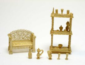 19th Century carved ivory miniatures.