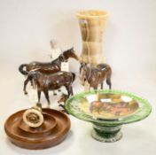 Selection of decorative items including Beswick horses and a nutcracker