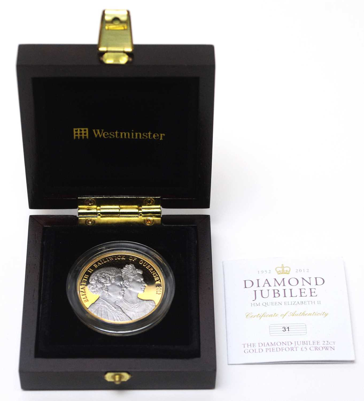 A Diamond Jubilee 22ct gold piedfort £5 Guernsey crown