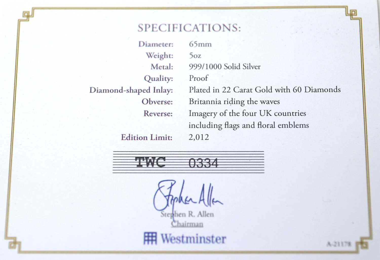 Diamond Jubilee 60-diamond 5oz silver medal - Image 3 of 4