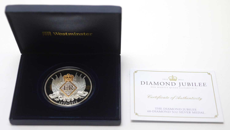 Diamond Jubilee 60-diamond 5oz silver medal