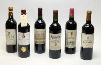 Six mixed bottles of wine.