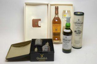 Glenfiddich (5cl), Glenmorangie and Laphroaig 70cl..